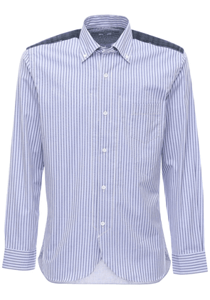 Striped Cotton Poplin Shirt W/back Check
