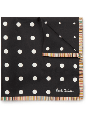 Paul Smith - Contrast-Tipped Polka-Dot Silk-Twill Pocket Square - Men - Black