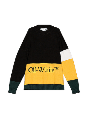 OFF-WHITE Color Block Off Crewneck Sweater in Black & Yellow - Black,Green,Stripes,Yellow. Size XL (also in ).
