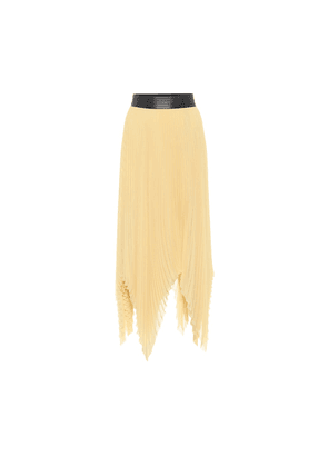 Pleated georgette asymmetric midi skirt