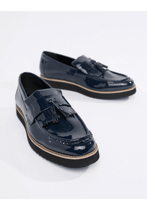 Truffle Collection Patent Tassel Loafers-Navy