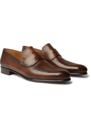 Berluti - Cuir Brulé Venezia Leather Penny Loafers - Men - Brown