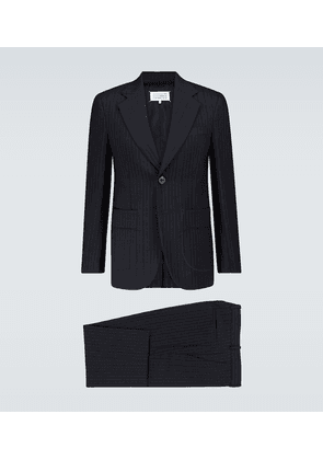 Pinstripe wool and cotton-blend suit