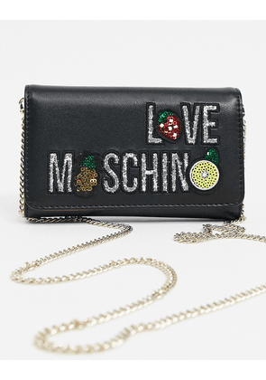 Love Moschino purse with chain strap with fruit logo in black