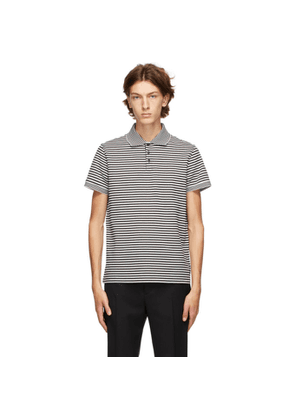 Saint Laurent Black and White Striped Polo