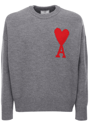 Heart Logo Intarsia Wool Knit Sweater
