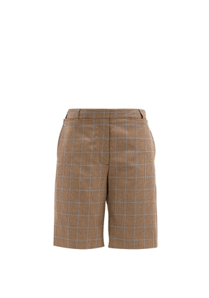 Burberry - Mae Plaid Tailored Wool Shorts - Womens - Brown Multi