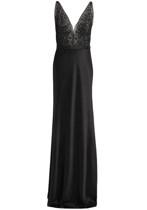 Catherine Deane Mandy Lace-paneled Stretch-satin Gown Woman Black Size 6