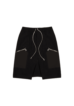 Rick Owens Black Cotton And Wool-blend Shorts