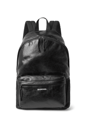 Balenciaga - Arena Logo-Print Crinkled-Leather Backpack - Men - Black