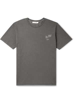 FRAME - Embroidered Cotton-Jersey T-Shirt - Men - Gray