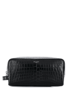 Saint Laurent zipped leather wash bag - Black