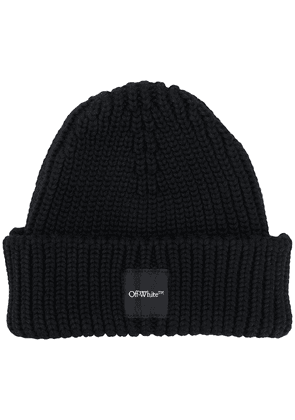 Off-White logo patch ribbed beanie - Black