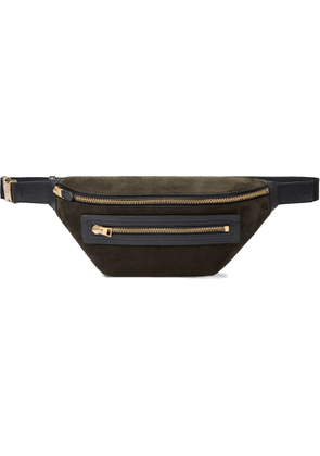 TOM FORD - Buckley Leather-Trimmed Suede Belt Bag - Men - Green