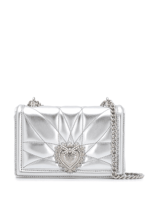 Dolce & Gabbana small Devotion quilted crossbody bag - SILVER