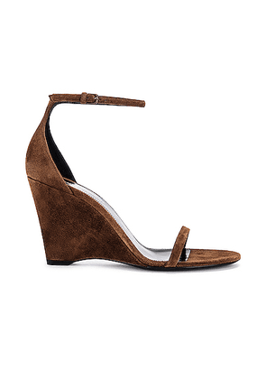 Saint Laurent Lila Wedge Sandals in Land - Brown. Size 40 (also in 36.5,37.5,38.5,41).