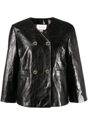 Gucci cropped sleeve leather jacket - Black