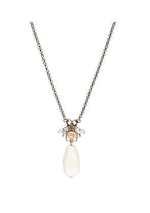 Bee faux pearl and crystal-embellished necklace