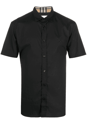 Burberry embroidered TB short-sleeved shirt - Black