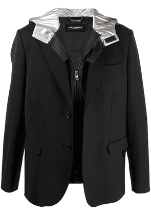 Dolce & Gabbana detachable hood blazer - Black