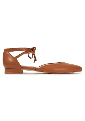 French Sole Penelope Cutout Leather Point-toe Flats Woman Light brown Size 35
