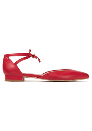 French Sole Penelope Cutout Leather Point-toe Flats Woman Red Size 35