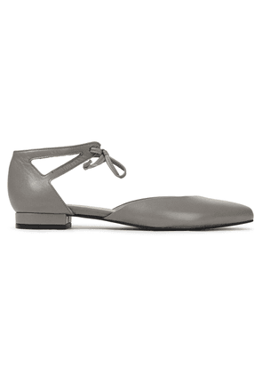 French Sole Penelope Cutout Leather Point-toe Flats Woman Gray Size 36