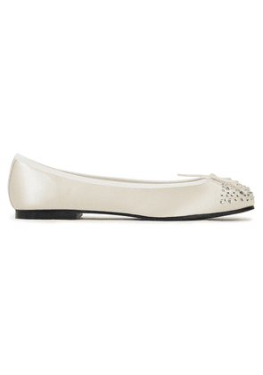 French Sole Henriette Crystal-embellished Satin Ballet Flats Woman Cream Size 35