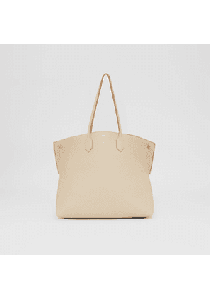Burberry Large Leather Society Tote, Beige