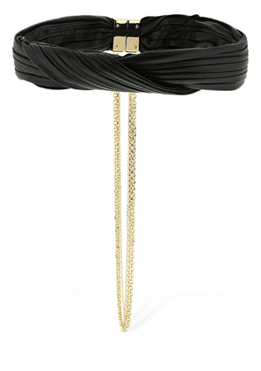 Fringed Graphic Leather Choker