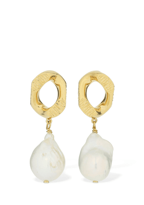 Chain Link Earrings W/ Freshwater Pearl