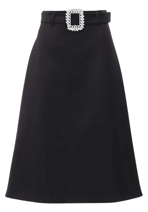 Gabardine Midi Skirt W/ Jewel Buckle