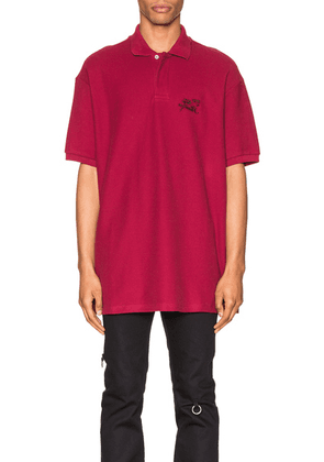 Raf Simons Embroidered Polo in Burgundy - Red. Size XL (also in ).