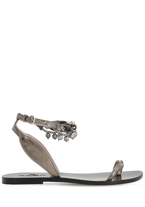 10mm Metallic Leather Thong Sandals
