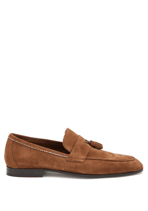Paul Smith - Hilton Signature-stripe Tasselled Suede Loafers - Mens - Brown