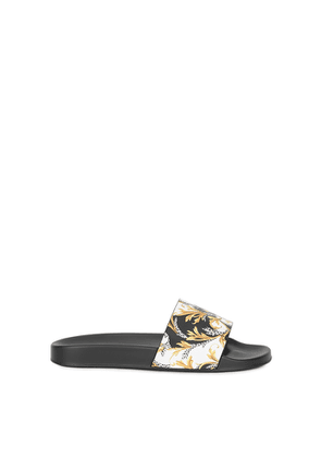 Versace Baroque-print Faux Leather Sliders