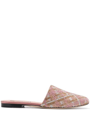 Marco De Vincenzo check-crystal slippers - PINK