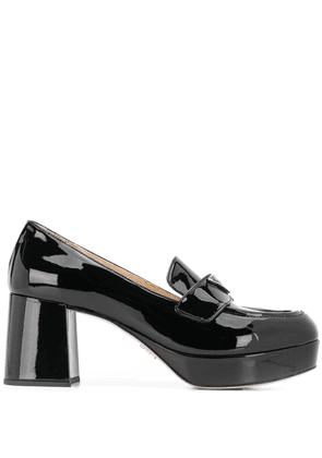 Prada logo-plaque block-heel loafers - Black