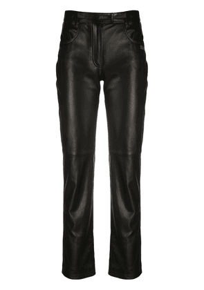 Off-White straight leg leather trousers - Black