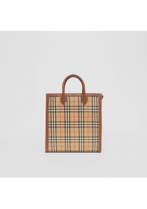 Burberry Medium Vintage Check Coated Canvas Tote, Beige
