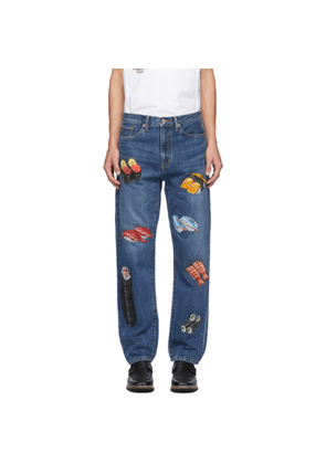 Doublet Blue Hand-Painted Food Jeans