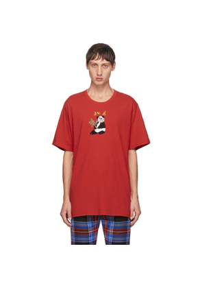Doublet Red Puppet Animal Embroidery T-Shirt