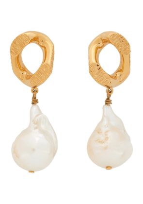 Burberry Gold Pearl Chain-link Earrings