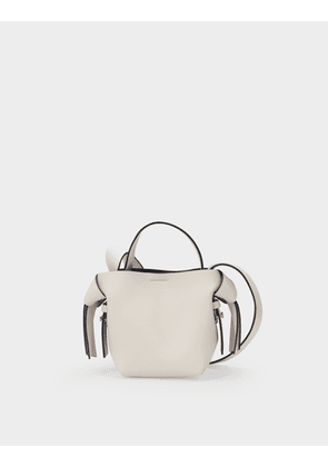 Bag Musubi Micro in White and Black Leather