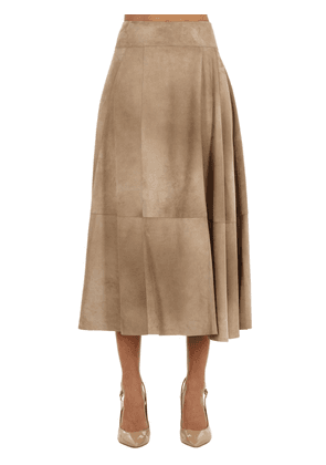 Flared Suede Midi Skirt
