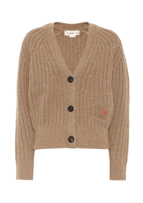 Ribbed knit wool and cashmere cardigan