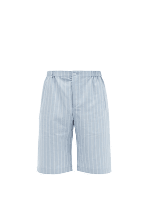 Gucci - Pinstriped Canvas Shorts - Mens - Blue