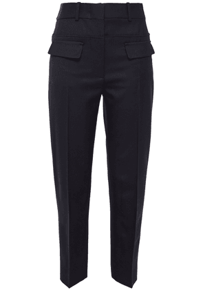Cedric Charlier Cropped Wool-twill Tapered Pants Woman Midnight blue Size 40