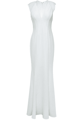 Catherine Deane Melissa Fluted Lace-paneled Lattice-trimmed Cady Gown Woman Ivory Size 6