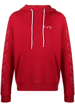 Off-White Diagonals logo-print hoodie - Red